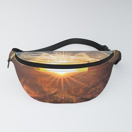 The Shattered Glass Sunset Over Monument Valley Fanny Pack