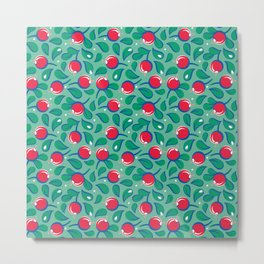 Cranberries pattern (on light green background) Metal Print
