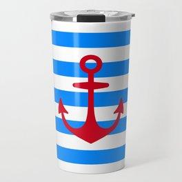 Red Anchor on Navy Blue Stripes Travel Mug