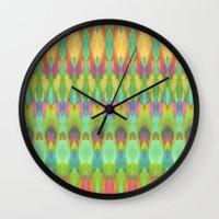 ikat Wall Clocks featuring Ikat  by Amber Nuttall