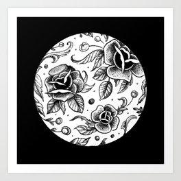 Blackwork Tattoo Roses Art Print
