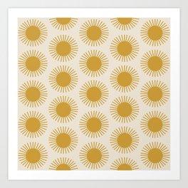 Golden Sun Pattern Art Print