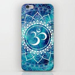 Galaxy Om Mandala Aqua Midnight Blue iPhone Skin