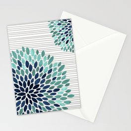 Blooms and Stripes, Aqua and Navy Stationery Cards