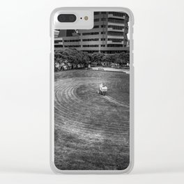 Mowing The Lawns In A Circle Clear iPhone Case