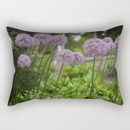 Purple Allium Ornamental Onion Flowers Blooming in a Spring Garden 3 Rectangular Pillow