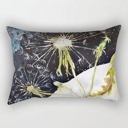 Dandelion Moon Surreal Space Travel, Taraxacum Rectangular Pillow