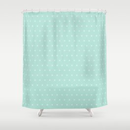 Aqua blue and White cross sign pattern Shower Curtain