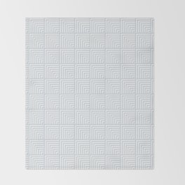 optical art pattern squares in white and a pale icy gray Throw Blanket