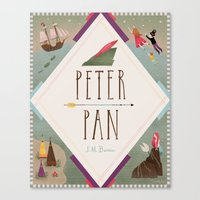 peter pan Canvas Prints featuring Peter Pan by emilydove