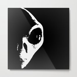 Black and White Alien Face Metal Print