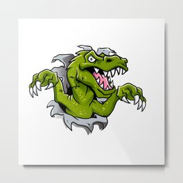 cartoon dinosaur ripping through a wall Metal Print
