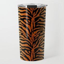 Tiger Stripes Animal Print in Rust Brown, Amber, Black and Tan Travel Mug