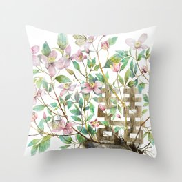 Clematis and Happiness in Marriage Symbol in a Nest Throw Pillow