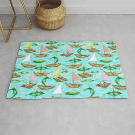 Happy Childhood Activities on a Cloud-reflecting River Rug