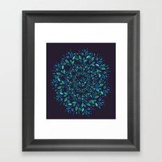 Blue Leaves Mandala Framed Art Print