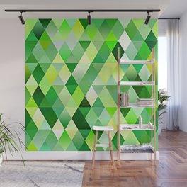 Lime Green Yellow White Diamond Triangles Mosaic Pattern Wall Mural