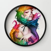 artgerm Wall Clocks featuring Angel of Colors by Artgerm™