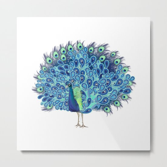 Peacock - Green and BLUE Metal Print