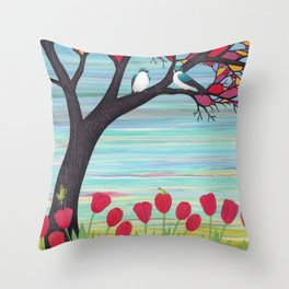 tree swallows in the stained glass tree with tulips and frogs Throw Pillow