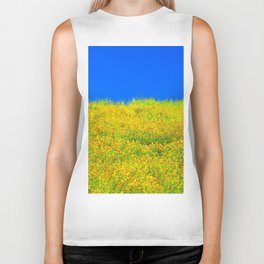 yellow poppy flower field with green leaf and clear blue sky Biker Tank