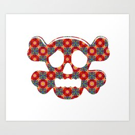 Colorful human skull Art Print