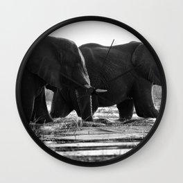 Elephants (Black and White) Wall Clock