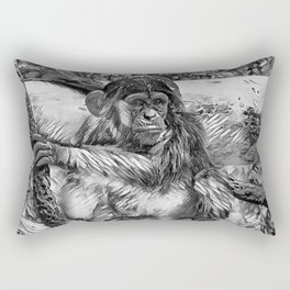 AnimalArtBW_Chimpanzee_20170905_by_JAMColorsSpecial Rectangular Pillow