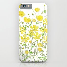 yellow buttercup flowers filed watercolor  iPhone Case