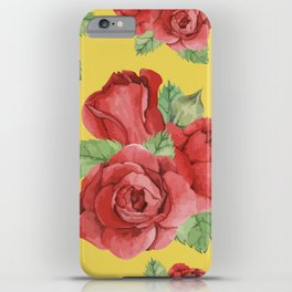Colorful Vintage Watercolor Red Rose iPhone Case
