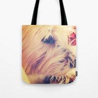 westie Tote Bags featuring westie love by simple art