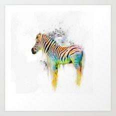 Drippy Jazzy Zebra by Jai Johnson Art Print