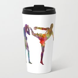 Two men exercising thai boxing silhouette 01 Travel Mug