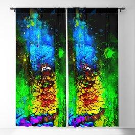 colibri fiery throat splatter watercolor Blackout Curtain