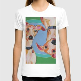 Whippets Contemporary Pop Art Dog Pet Portrait T-shirt