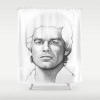 dexter Shower Curtains featuring Dexter Morgan Portrait by Olechka