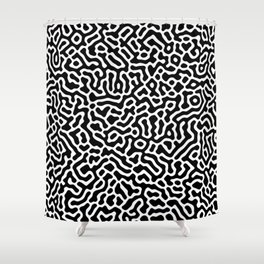 Coral - Black and White Shower Curtain
