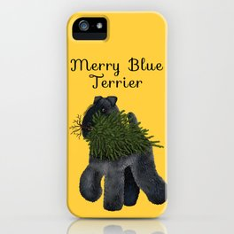 Merry Blue Terrier (Yellow Background) iPhone Case