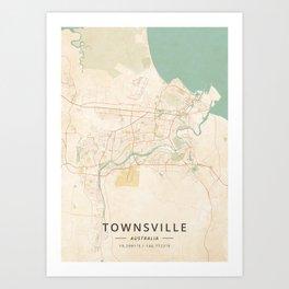 Townsville, Australia - Vintage Map Art Print