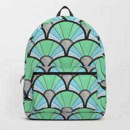 Green Pastel Art Deco Fan Pattern Backpack