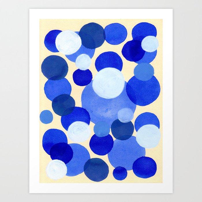 910644f4d71 Colorful Blue White Watercolor Bubbles Art Print by enshape