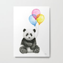 Panda Baby with Balloons Whimsical Nursery Animals Metal Print