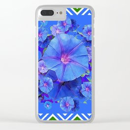 Baby Blue Morning Glories Green Floral Art Clear iPhone Case