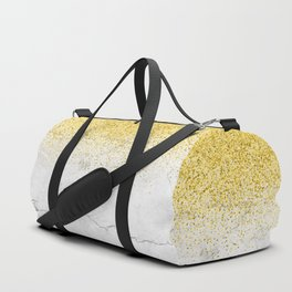 Gold Glitter and Grey Marble texture Duffle Bag