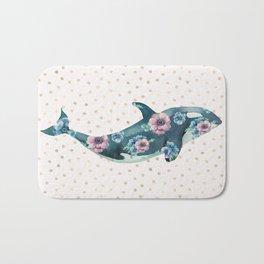Whale Ocean Rose + Gold Polka Dot Bath Mat