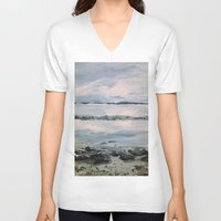 maine V-neck T-shirts featuring Maine by Samantha Crepeau