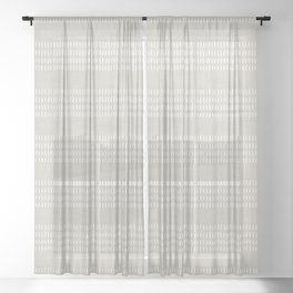 farmhouse stitch - greige Sheer Curtain