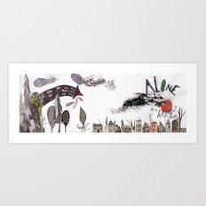 tiny collage weird landscape Art Print