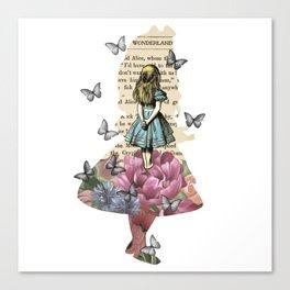 Alice In Wonderland Magical Garden - Vintage Book Canvas Print