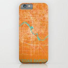 Cedar Rapids, IA, USA, Gold, Blue, City, Map iPhone Case